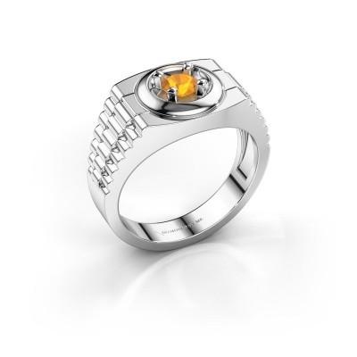 Foto van Rolex stijl ring Edward 585 witgoud citrien 4.7 mm
