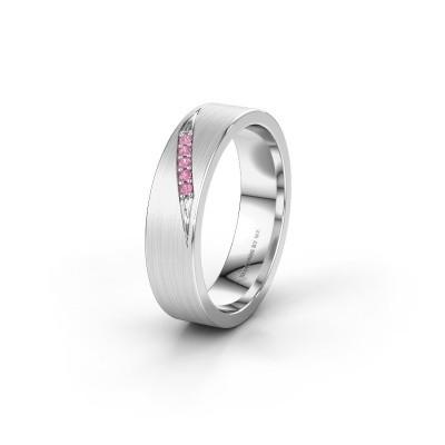 Trouwring WH2148L25AM 585 witgoud roze saffier ±5x1.7 mm