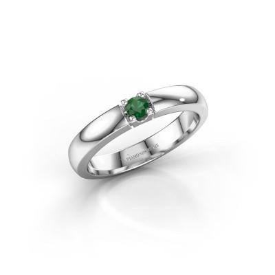 Foto van Verlovingsring Rianne 1 585 witgoud smaragd 3 mm