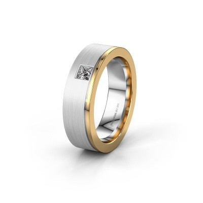 Trouwring WH0550L16CMP 585 witgoud diamant ±6x2.2 mm