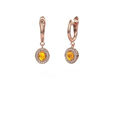 Picture of Drop earrings Nakita 375 rose gold citrin 5x4 mm