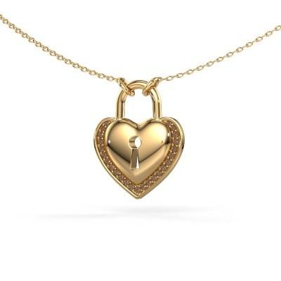Bild von Halskette Heartlock 585 Gold Braun Diamant 0.115 crt