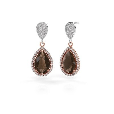 Picture of Drop earrings Cheree 2 585 rose gold smokey quartz 12x8 mm
