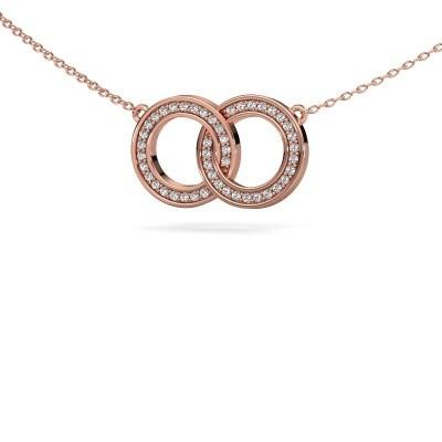 Foto van Ketting Circles 1 375 rosé goud zirkonia 1 mm