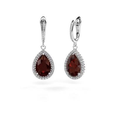 Picture of Drop earrings Hana 2 950 platinum garnet 12x8 mm