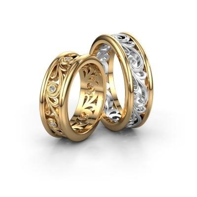 Foto van Trouwringen set WHR0240LM ±7x2.1 mm 14 karaat goud diamant 0.01 crt