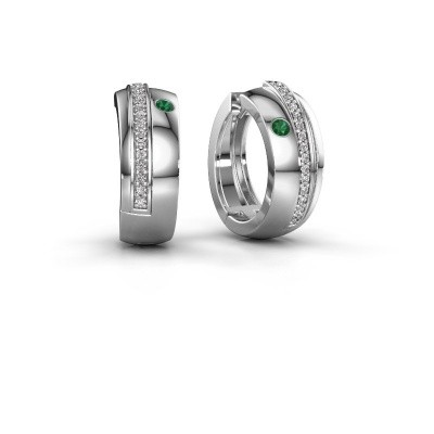 Picture of Hoop earrings Shakita 925 silver emerald 2 mm