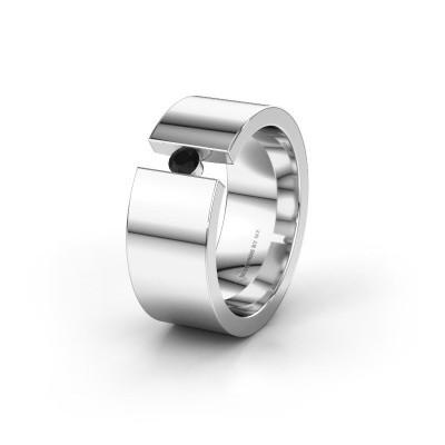 Trouwring WH0146L18BP 585 witgoud zwarte diamant ±8x2 mm