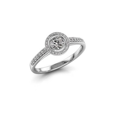 Verlovingsring Noud 2 RND 585 witgoud diamant 0.39 crt