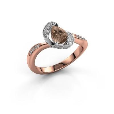 Foto van Ring Jonelle 585 rosé goud bruine diamant 0.748 crt