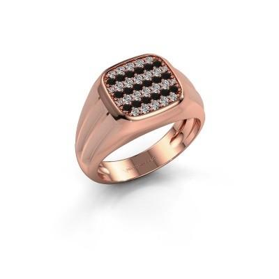 Foto van Pinkring Robbert 585 rosé goud zwarte diamant 0.610 crt