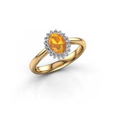 Foto van Verlovingsring Tilly 1 585 goud citrien 7x5 mm