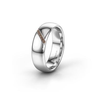 Trouwring WH0164L36B 950 platina bruine diamant ±6x2 mm