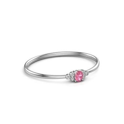 Foto van Slavenarmband Lucy 585 witgoud roze saffier 8x6 mm