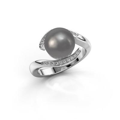 Foto van Ring Dedra 950 platina grijze parel 9 mm