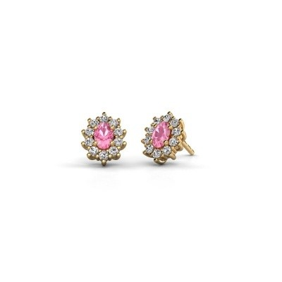 Picture of Earrings Leesa 375 gold pink sapphire 6x4 mm