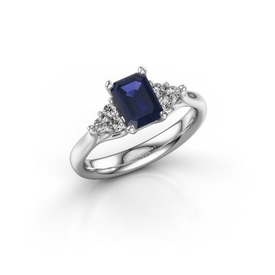 Picture of Engagement ring Monika EME 585 white gold sapphire 7x5 mm