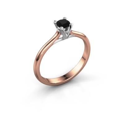 Foto van Verlovingsring Isa 1 750 rosé goud zwarte diamant 0.30 crt