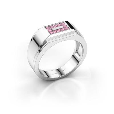 Foto van Heren ring Roan 925 zilver roze saffier 1.5 mm