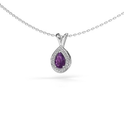 Picture of Necklace Ginger 585 white gold amethyst 6x4 mm
