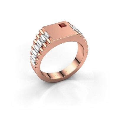 Foto van Rolex stijl ring Pelle 585 rosé goud granaat 3 mm