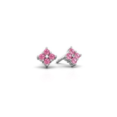 Picture of Stud earrings Maryetta 925 silver pink sapphire 2 mm