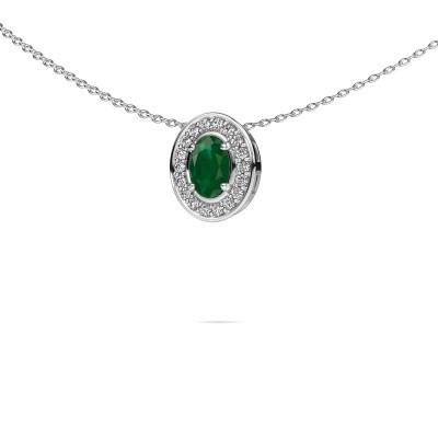 Foto van Ketting Madelon 925 zilver smaragd 6x4 mm