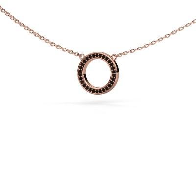 Foto van Hanger Round 1 375 rosé goud zwarte diamant 0.09 crt