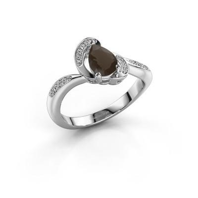 Picture of Ring Jonelle 585 white gold smokey quartz 7x5 mm