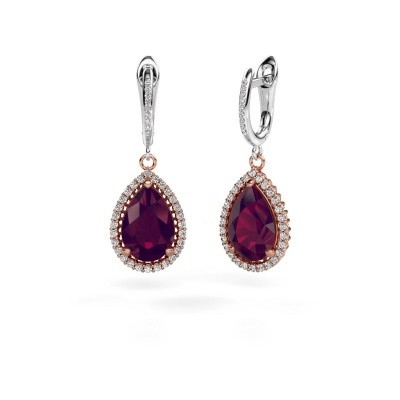 Picture of Drop earrings Hana 2 585 rose gold rhodolite 12x8 mm