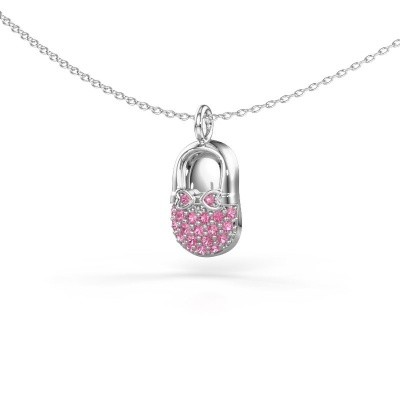 Picture of Pendant Babyshoe 375 white gold pink sapphire 1.3 mm