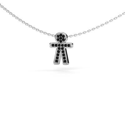 Foto van Hanger Boy 585 witgoud zwarte diamant 0.138 crt