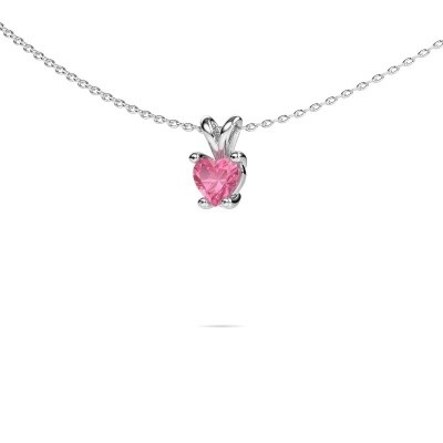 Picture of Necklace Sam Heart 950 platinum pink sapphire 5 mm