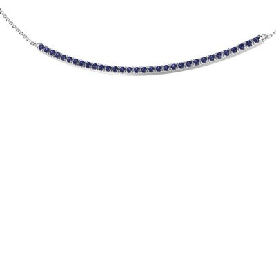 Picture of Bar necklace Simona 585 white gold sapphire 1.5 mm