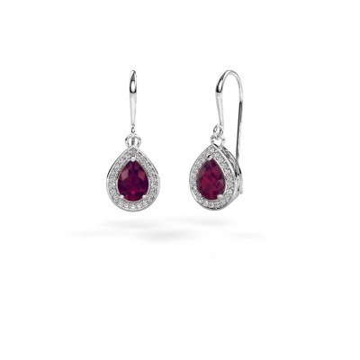Picture of Drop earrings Beverlee 1 585 white gold rhodolite 7x5 mm