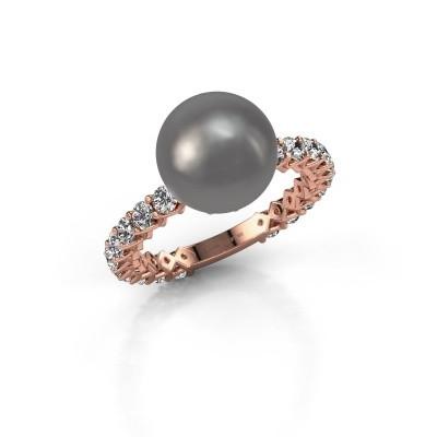 Foto van Ring Nele 375 rosé goud grijze parel 9 mm