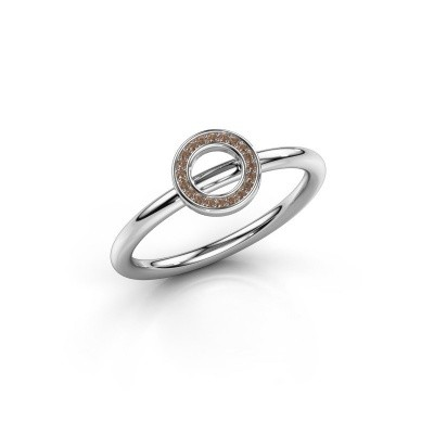 Picture of Ring Shape round small 750 white gold brown diamond 0.05 crt