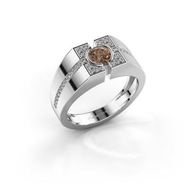 Foto van Herenring Thijmen 950 platina bruine diamant 0.755 crt