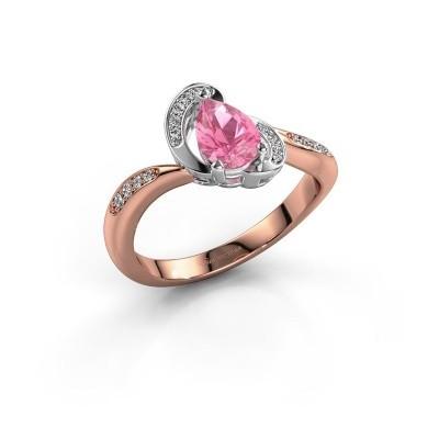 Foto van Ring Jonelle 585 rosé goud roze saffier 7x5 mm