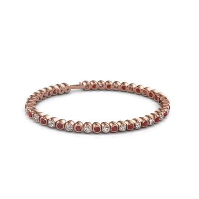 Foto van Tennisarmband Asley 750 rosé goud robijn 3 mm
