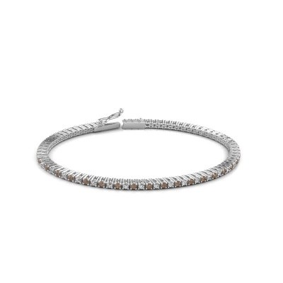 Foto van Tennisarmband Simone 585 witgoud bruine diamant 2.16 crt