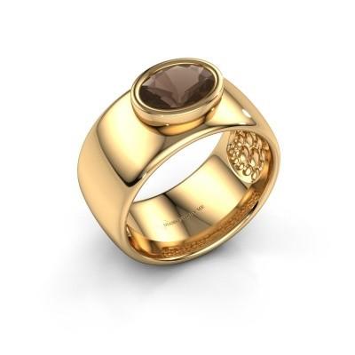 Foto van Ring Anouschka 585 goud rookkwarts 8x6 mm