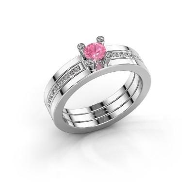 Foto van Ring Alisha 925 zilver roze saffier 4 mm