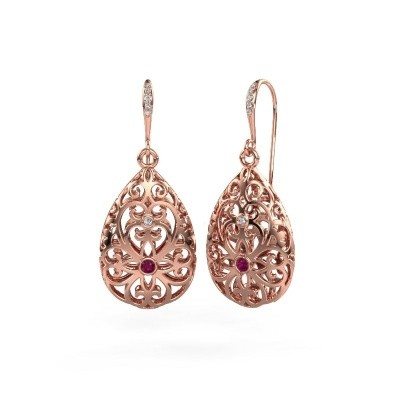 Picture of Drop earrings Idalia 2 375 rose gold rhodolite 2 mm