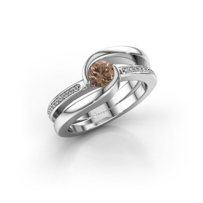 Foto van Ring Xenia 950 platina bruine diamant 0.60 crt