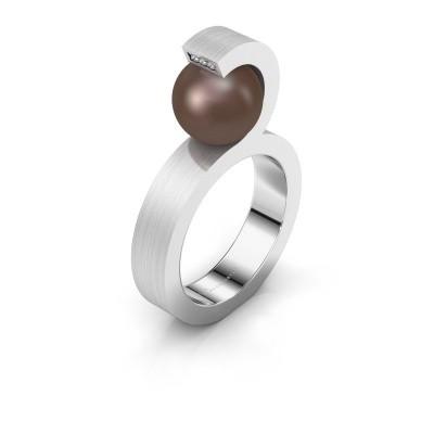 Foto van Ring Juana 925 zilver bruine parel 9 mm