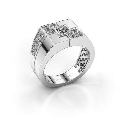Foto van Heren ring Rogier 375 witgoud zirkonia 4 mm