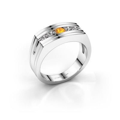 Foto van Heren ring Huub 925 zilver citrien 3.7 mm