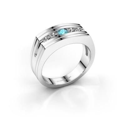 Foto van Heren ring Huub 925 zilver blauw topaas 3.7 mm