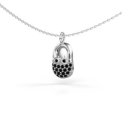 Foto van Hanger Babyshoe 375 witgoud zwarte diamant 0.232 crt